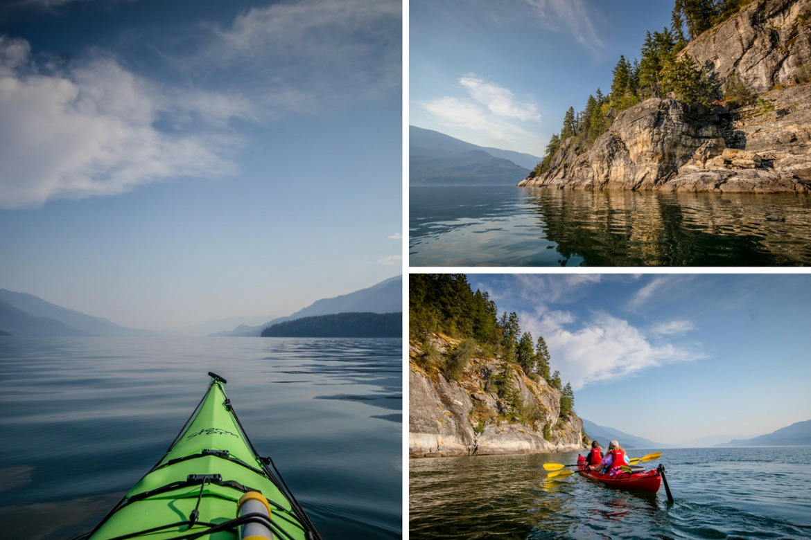 Kayaking on Kootenay Lake near Kaslo BC