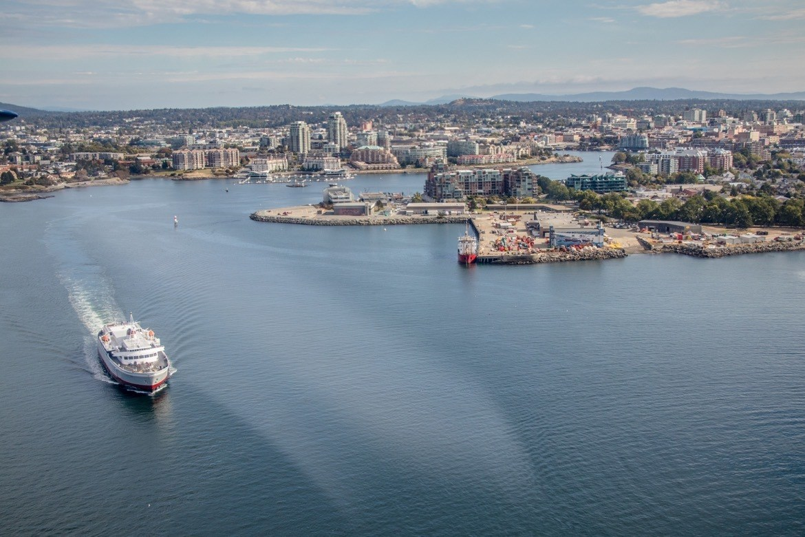 The view from a Harbour Air seaplane in Victoria, B.C.