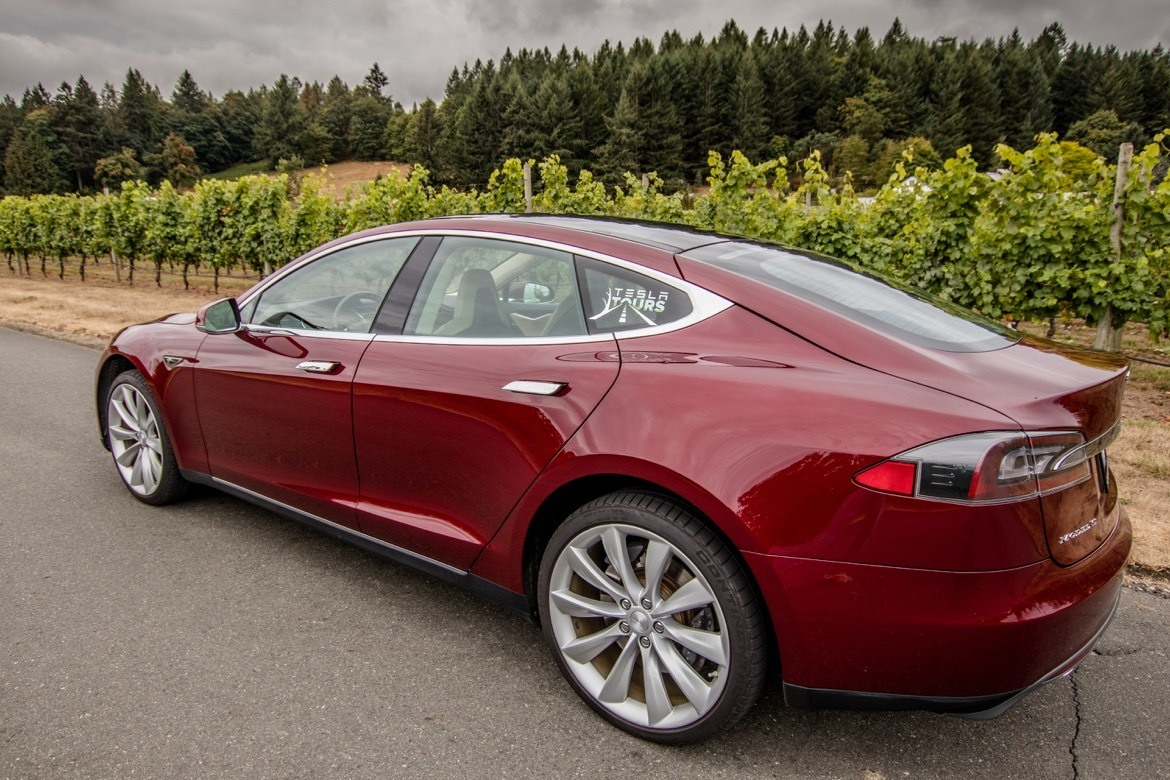 Tesla Tours at a vineyard in Saanich