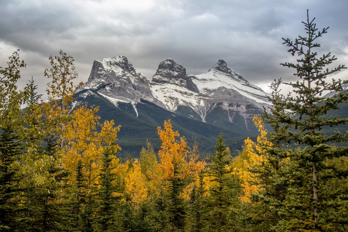 The Three Sisters mountain range in Canmore, Alberta
