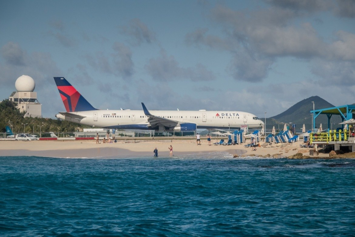 A plane on the runway at Maho Beach, St Maarten