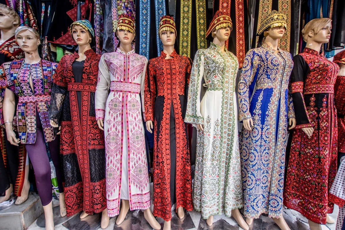 Colourful dresses for sale in downtown Amman, Jordan