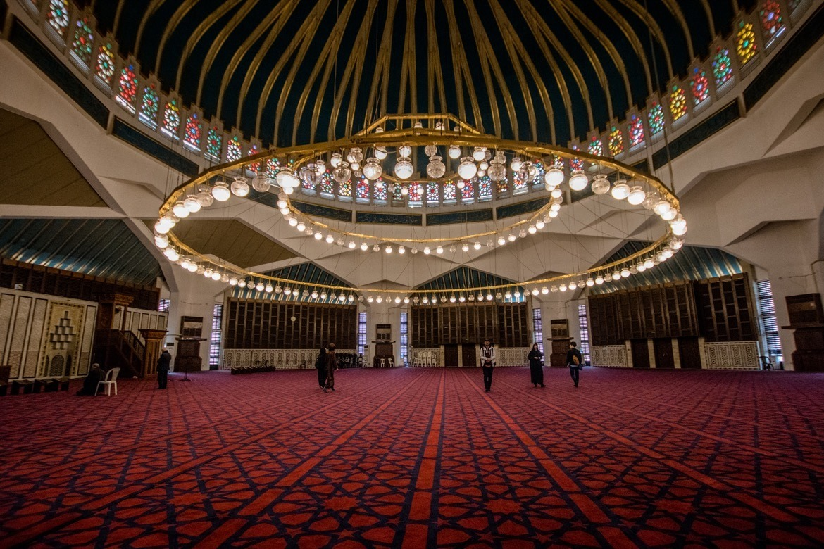 Inside the King Abdullah I Mosque in Amman, Jordan