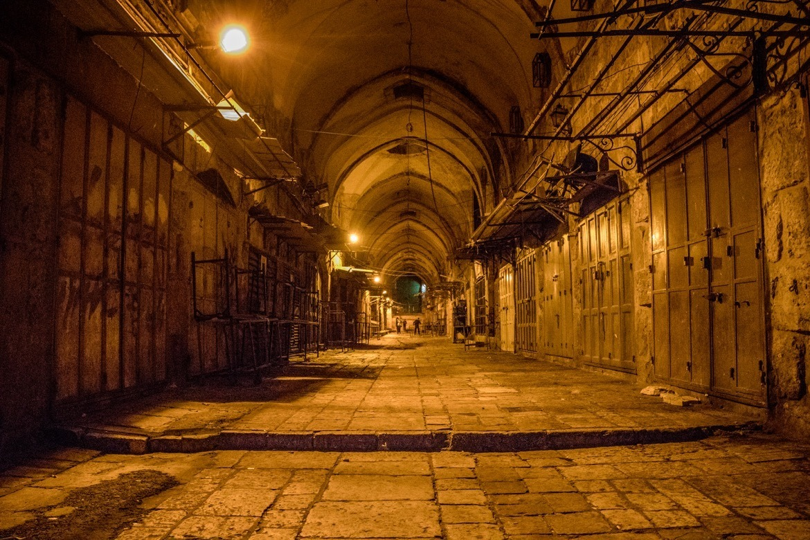 The Jewish Quarter in Jerusalem, Israel during Shabbat