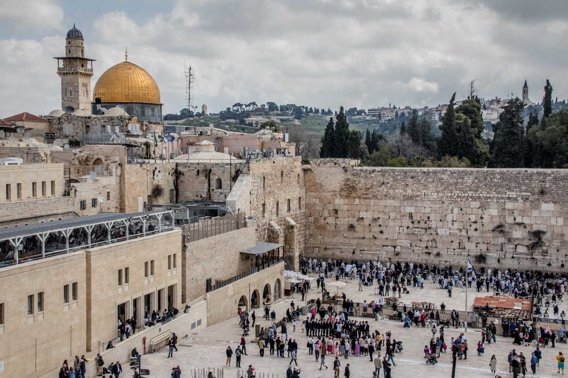 The Western Wall with the Dome of the Rock in the background in Jerusalem, Israel