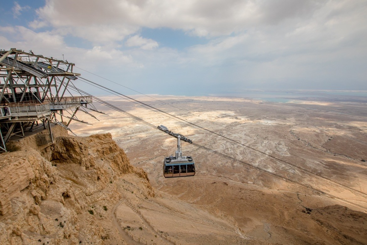 The cable car up to Masada in Israel