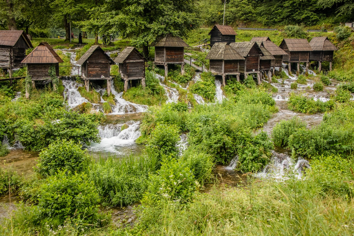 The watermills in Jajce are one of the best places to visit in Bosnia