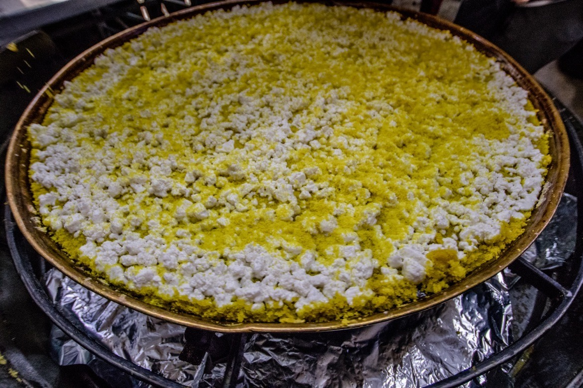 Knafeh, a deep-fried cheese dish found in Nablus.