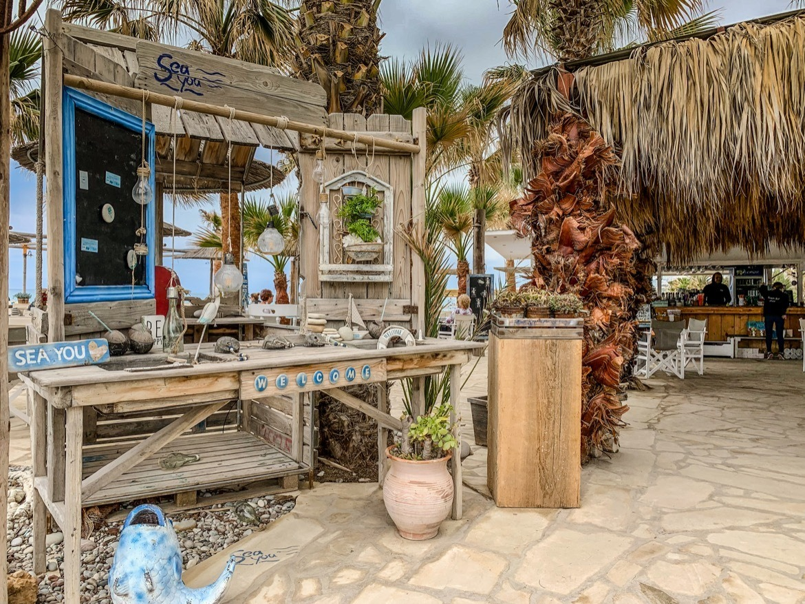 A beach club in Paphos, Cyprus