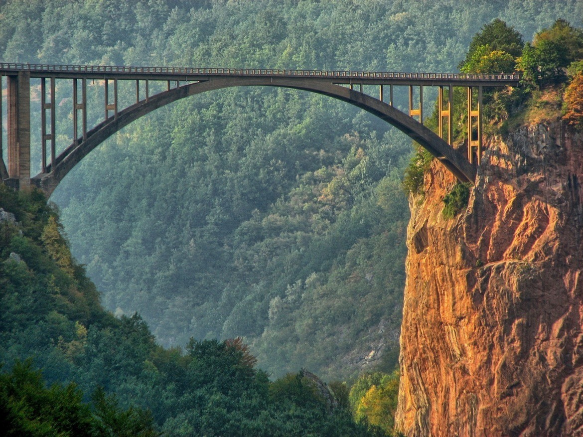 The Tara Bridge is most beautiful places to visit on a Montenegro road trip