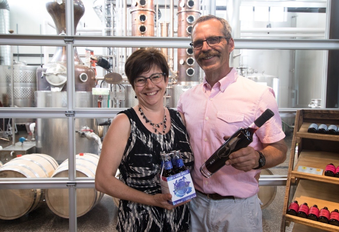 John Cote and Barb Stefanyshyn-Cote, owners of Black Fox Distillery