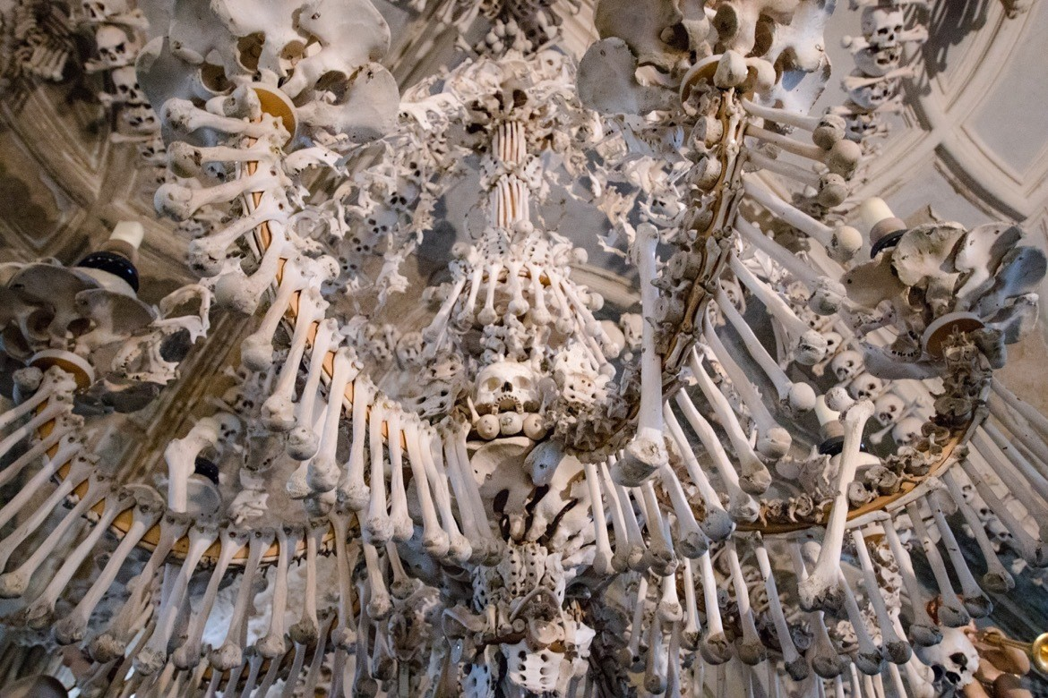 Sedlec Ossuary, the Bone Church in Kutna Hora, Czech Republic,