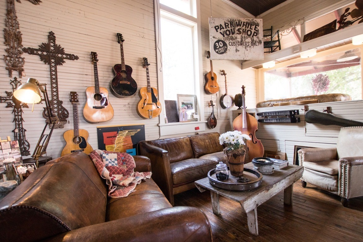 The prized guitars at Serenite Maison in Leiper's Fork, Tennessee