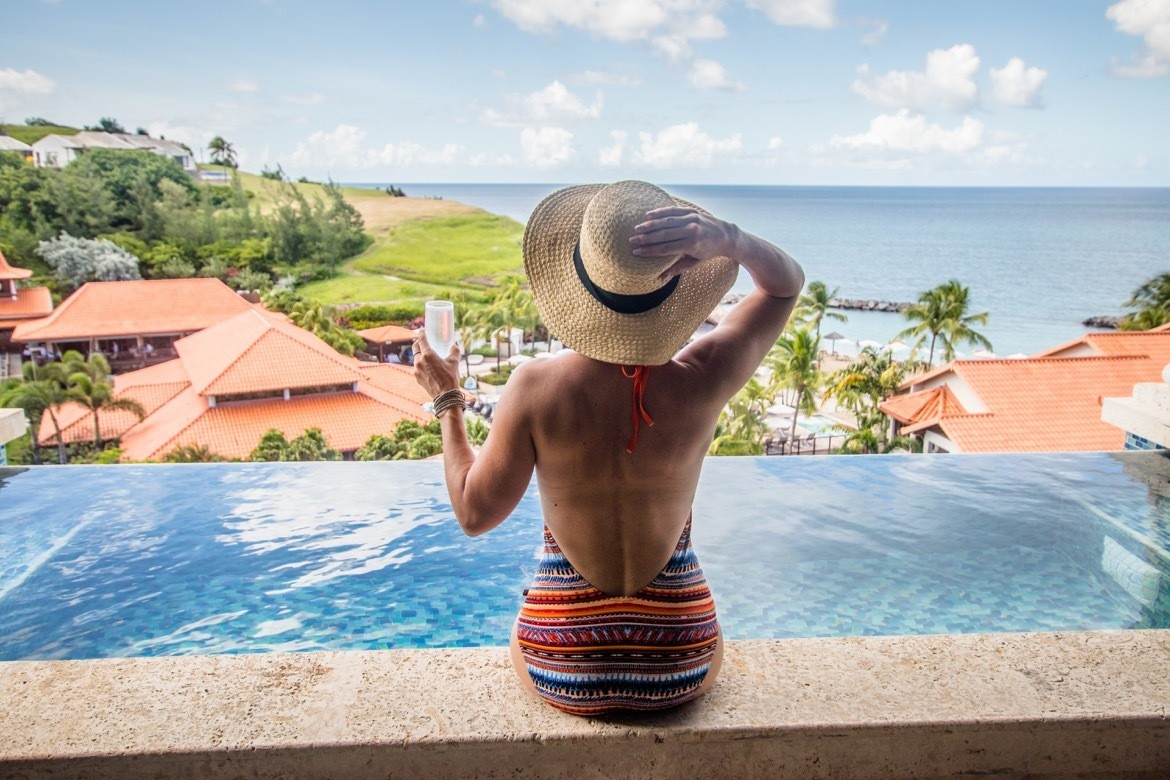 Enjoying the view from a SkyPool Suite at Sandals Grenada