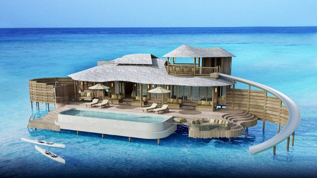 An overwater bungalow in the Maldives