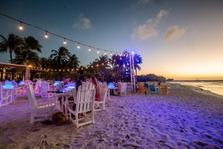 Dining on the beach at pureocean in Aruba