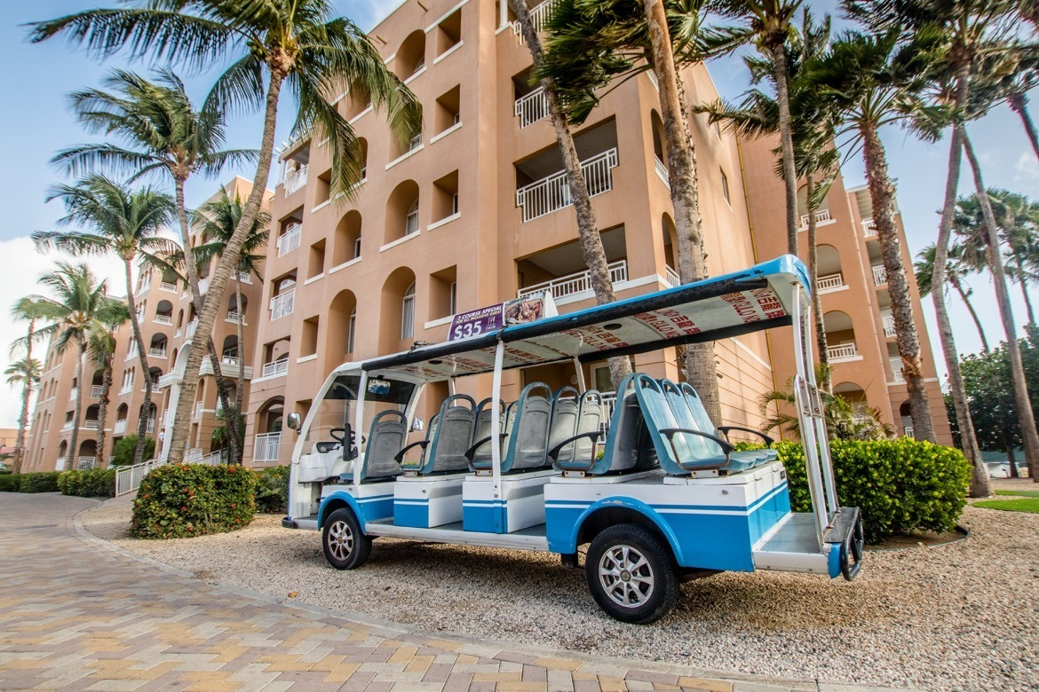 The free shuttle transports guests between the Divi Resorts in Aruba