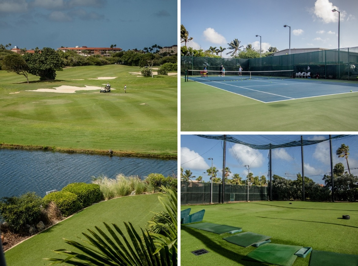 The golf course and tennis courts at Divi Village