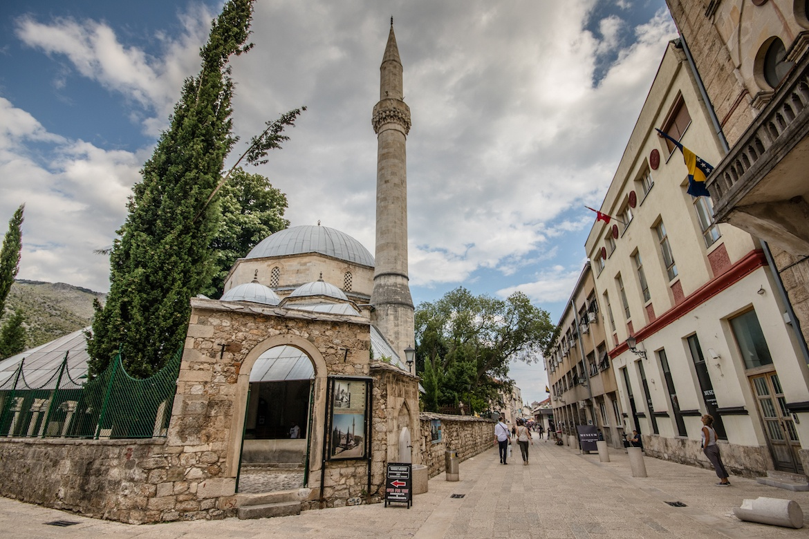 A mosque in the old town in Mostar, Bosnia and Herzegovina