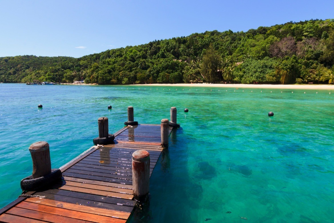 Clear waters at the dock. Manukan Island at Borneo, Sabah, Malaysia