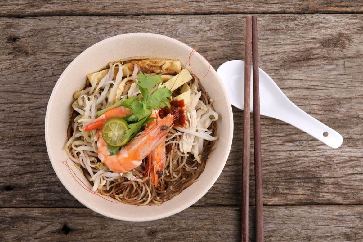 Sarawak Laksa, a spicy and flavourful dish that originates from the Malaysian state of Sarawak.Things to do in Kuching, Borneo, Malaysia