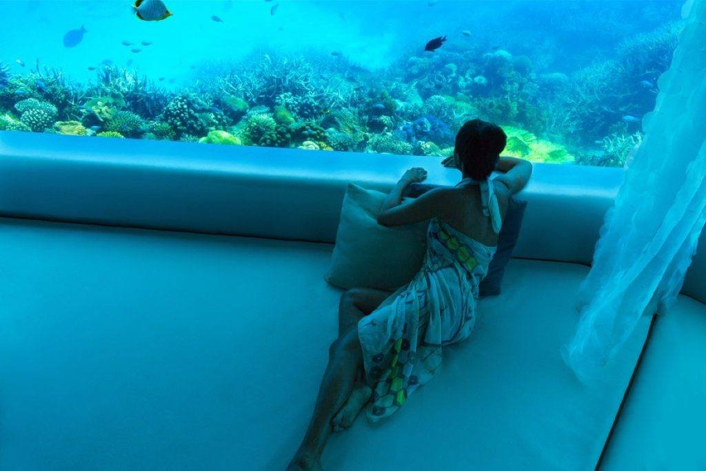 The underwater Huvafen Fushi spa is perfect for a Maldives honeymoon