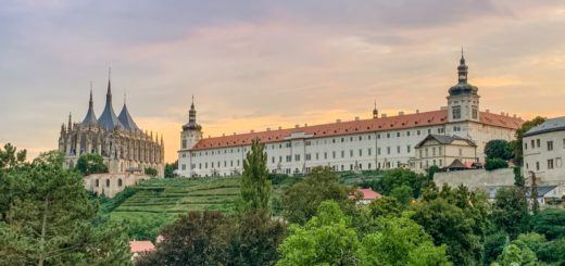 The hillside at sunset in Kutna Hora, Czech Republic