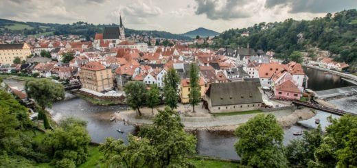 The medieval town of Cesky Krumlov, seen from the castle