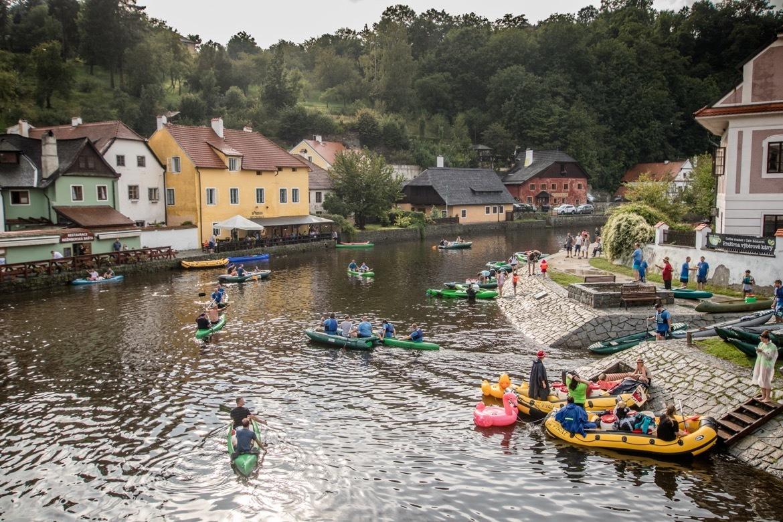 Raft down the Vltava River in Cesky Krumlov