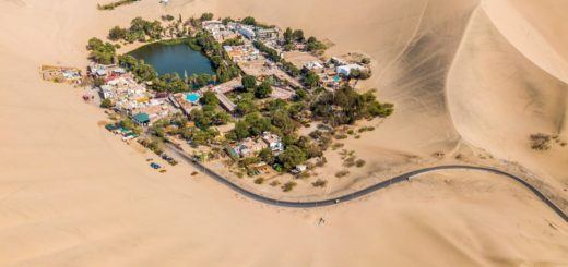 The Huacachina oasis in Peru