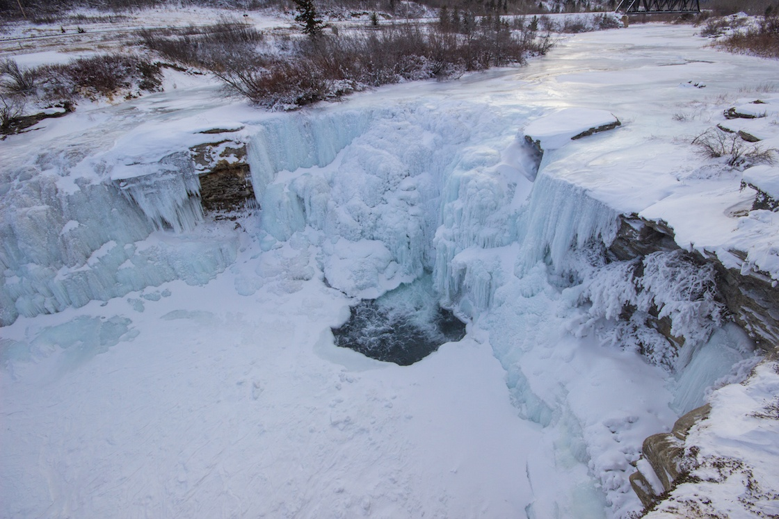 Lundbreck Falls in Alberta during winter