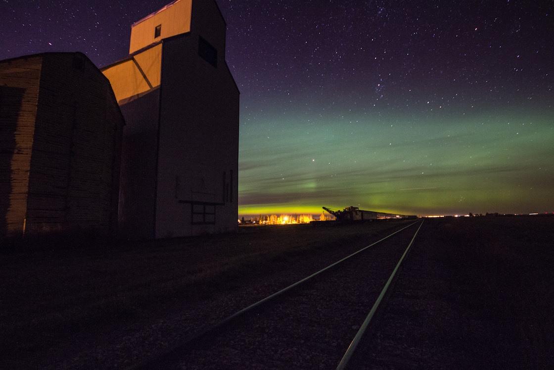 The northern lights in Mossleigh, Alberta