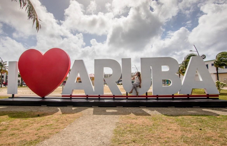 The I Love Aruba sign in Oranjestad, Aruba