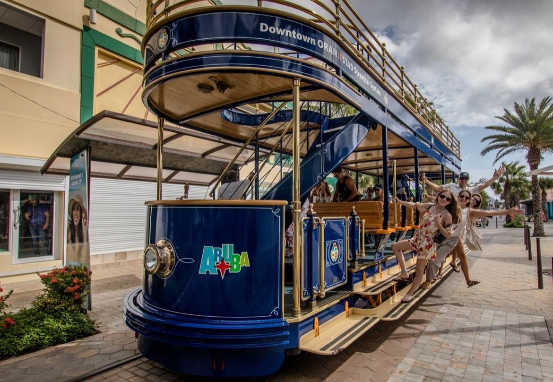 The free tourist trolley tram in Oranjestad, Aruba