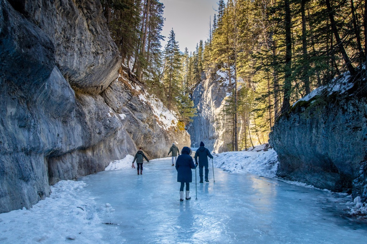 The Grotto Canyon Trail ice walk near Canmore, Alberta