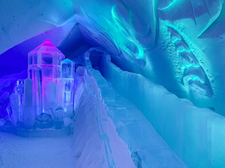 Ice slide at Hôtel de Glace, the Quebec City ice hotel