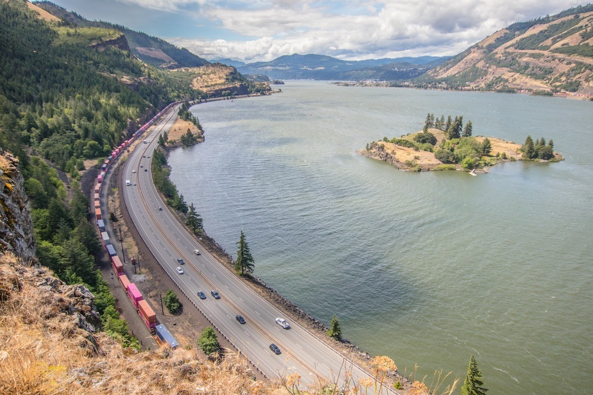 View from the Mosier Twin Tunnels Trail near Hood River Oregon