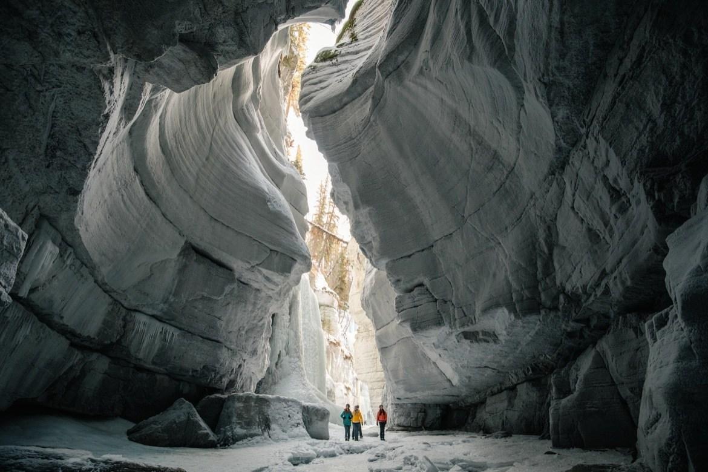 Group touring Maligne Canyon