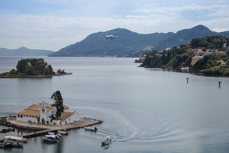 An airplane landing in Corfu